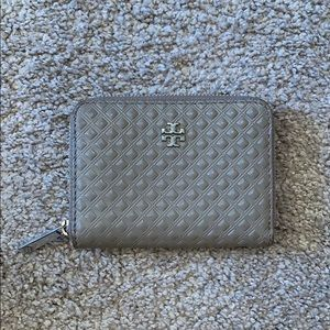 Grey Tory Burch coin purse key chain